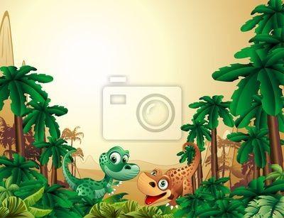 Wall Mural dinosauri cuccioli so-baby dinosaur tropical - small • PIXERSIZE.com