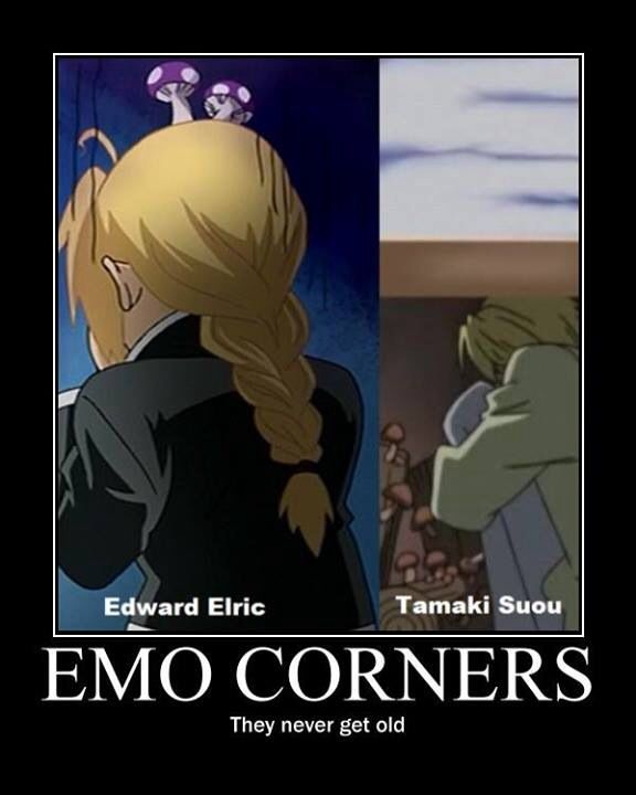 Ahaha, emo corners in Fullmetal Alchemist/Brotherhood and Ouran High School Host Club.