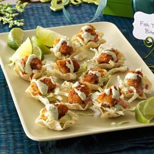 Fish Taco Bites: I like the idea of this. Obviously, I'm not going to used breaded fish sticks...YUK! Thinking salmon would be yummy. I'll be doctoring this idea up!