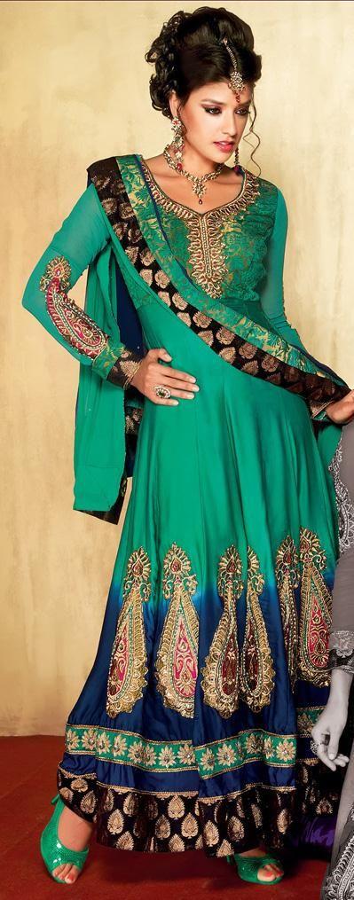 $102.87 Green A Line Zardosi Work Satin Anarkali Salwar Suit 26298