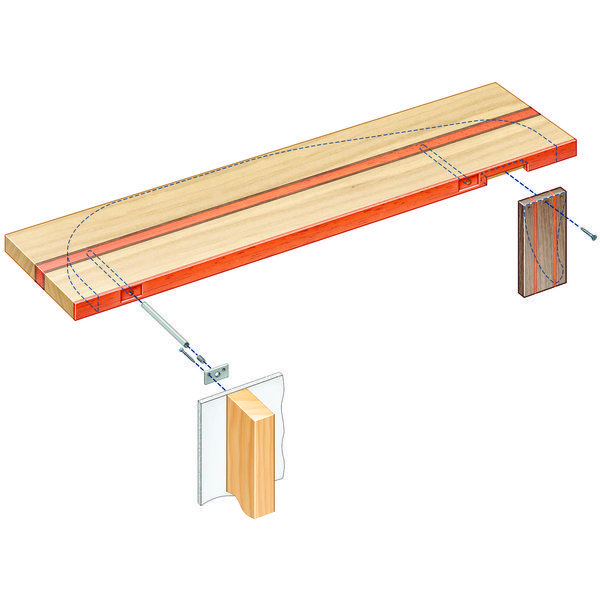 "Blind Shelf Supports  yielding a respectable capacity of 100 lbs. for a 4"" deep shelf and up to 50 lbs. at 8"" deep.  By adding additional supports on shelves long enough to span more than two studs, each extra support adds 50 lbs. more capacity at 4"" deep and 25 lbs. more at 8"" deep"