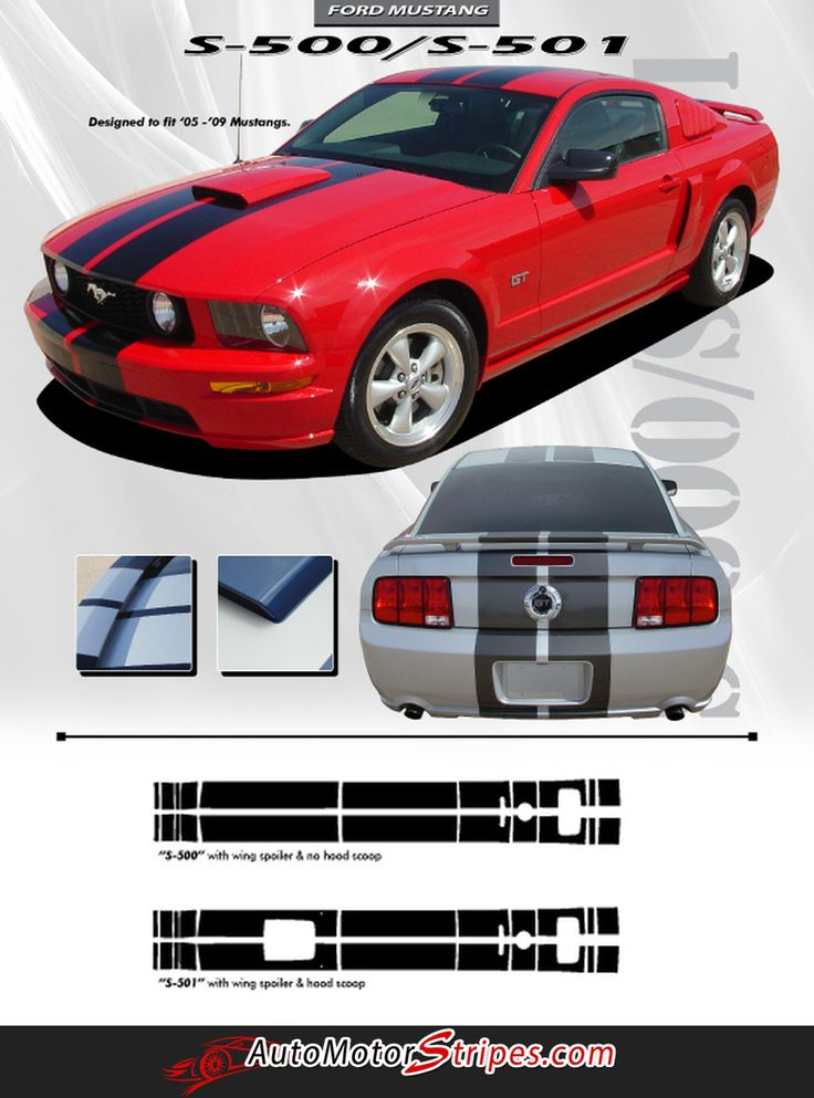 """GT 10/"""" Racing Stripes for Hood Scoop 3M Vinyl Graphic for Ford Mustang 2005-2009"""