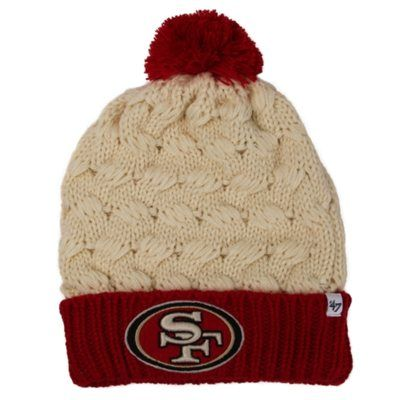 '47 Brand San Francisco 49ers Ladies Matterhorn Cuffed Beanie - Natural/Scarlet