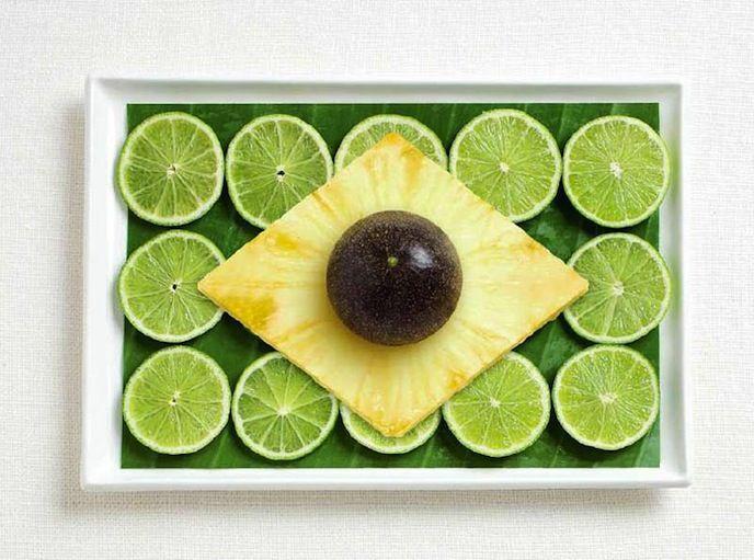 16. Ananas, fruit de la passion, citron vert et feuille de banane pour le Brésil