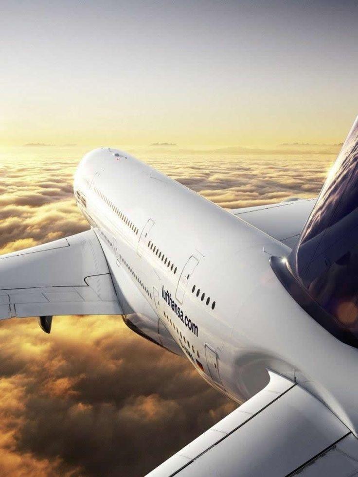 Lufthansa Aircraft   Sun Morning Clouds