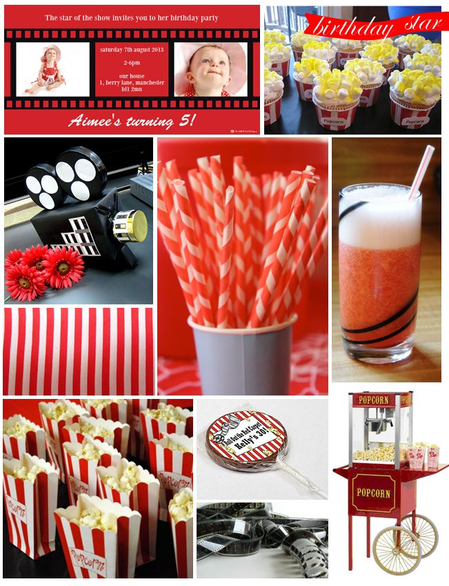 Movie Theatre Birthday Party Inspiration board