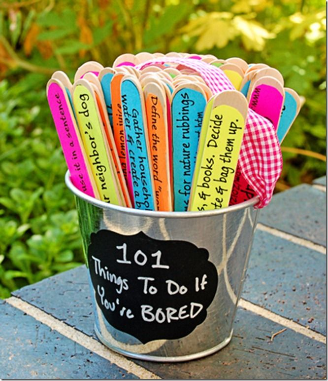 "10 summer activities for kids!  Great ideas! My bored jar has things like ""clean the toilet"", just to make them wary of uttering those two terrible words"