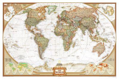 National Geographic : Carte du monde politique, planisphère - mappemonde Photographie sur AllPosters.fr
