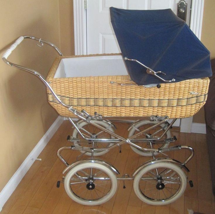 Vintage PEREGO Baby Stroller Buggy Pram Carriage Made in Italy Peg Perego Wicker #PegPerego