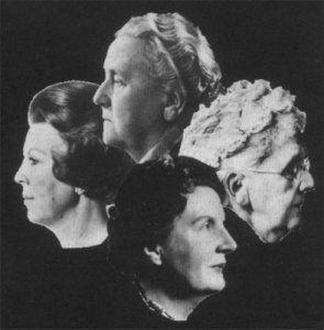 Four Queens of the Netherlands.  Right: Queen Emma (1890-1898), Top:  Queen Wilhelmina (1898-1948), Bottom: Queen Juliana (1948-1980), and Left: Queen Beatrix (1980- ).