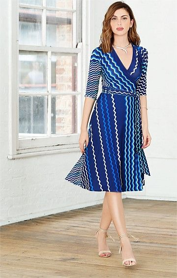 FROM THE LAKE 3/4 SLEEVE REVERSIBLE WRAP DRESS IN BLUE GREEN PRINT