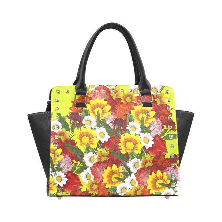 Posie of Flowers Rivet Shoulder Handbag (Model 1645)