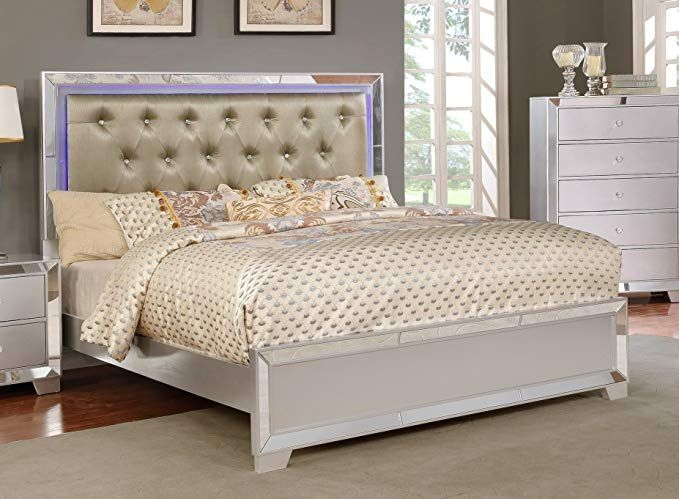 Major Q Contemporary Modern Metallic Silver Finish Queen Size Bed
