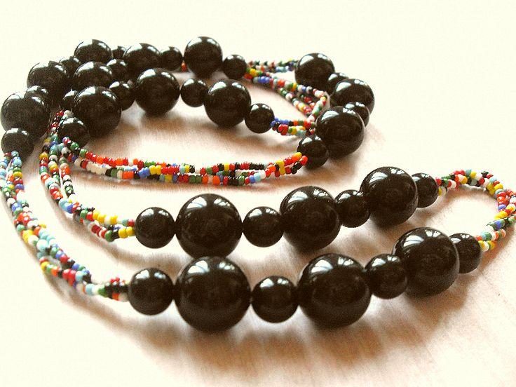 Ketten lang - Lange 70er Jahre Vintage Kette Perlen Preppy Stil - ein Designerstück von Mont_Klamott bei DaWanda