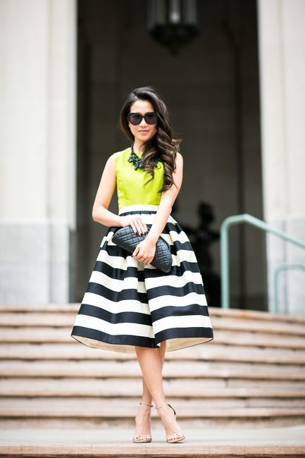Neon Winter :: Striped midi skirt Wendy Nguen Top :: Tibi  Bottom :: Tibi  Bag :: Chanel Shoes :: Stuart Weitzman (similar here) Accessories :: Karen Walker sunglasses, Ek Thongprasert necklace , Bauble Bar ring, Mirlo cuff, Jennie Kwon ring