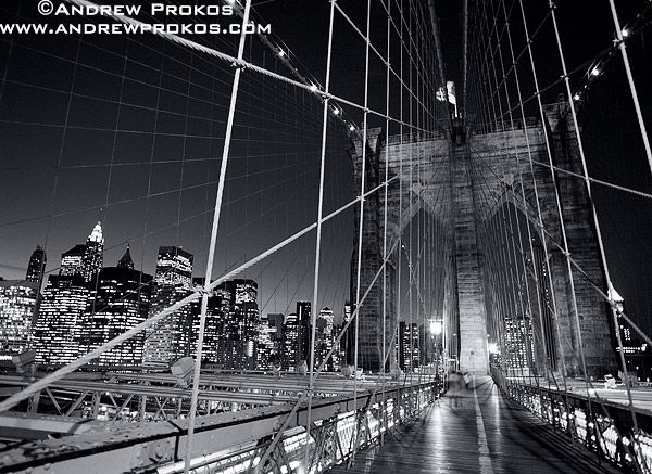 Brooklyn Bridge Tower and Cables at Night - http://andrewprokos.com/photos/black-and-white/