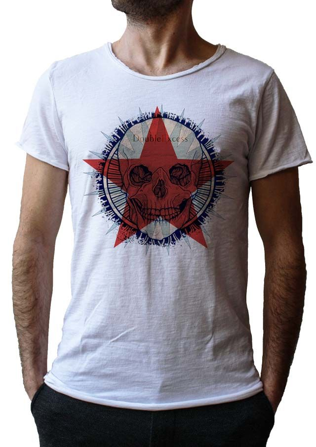 Men's T-Shirt STAR SKULL - Made in Italy - 100% Cotton - SKULL COLLECTION http://www.doubleexcess.com/