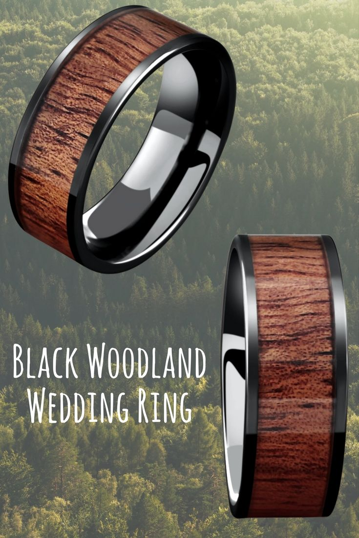 Mens Black Woodland Wedding Rings. For the true outdoorsman! This mens wedding ring is made with a part of nature... real koa wood.