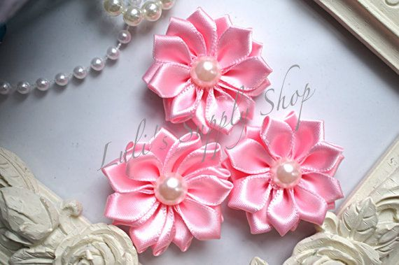 3 Pink 1.5 Satin Flowers w/ Pearl Center by LulisSupplyShop