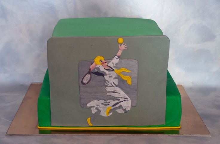 Trochu retro dort pro tenistku. Retro Cake for tennis player - woman.
