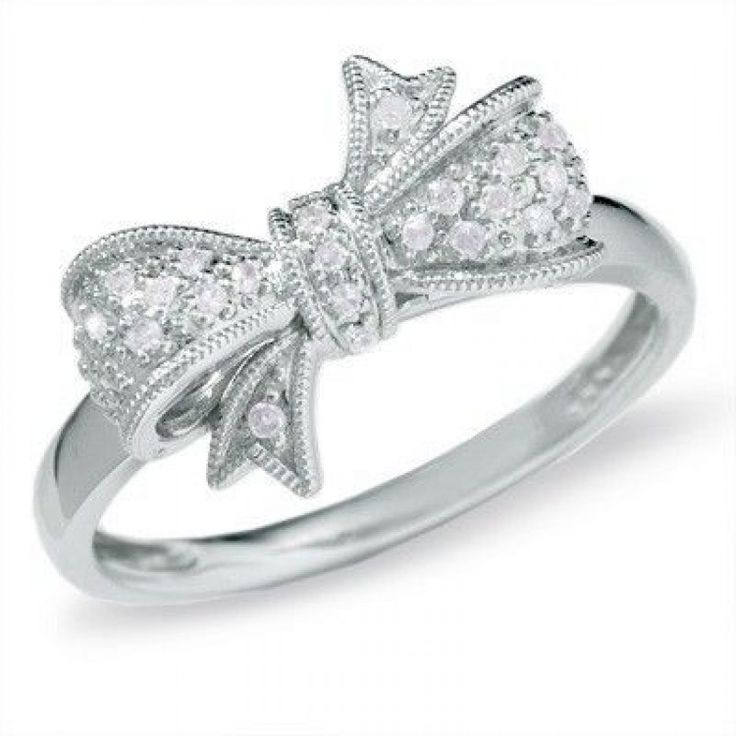 bow engagement ring - diamond
