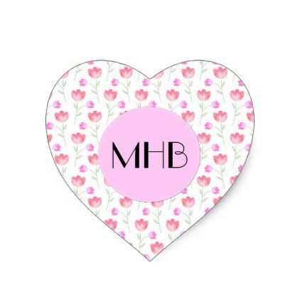 Monogram - Flowers Leaves Plant Stems - Pink Heart Sticker - floral style flower flowers stylish diy personalize
