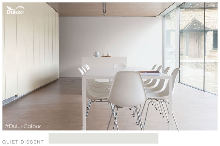 Dining room with calming neutrals featuring #Dulux Quiet Dissent