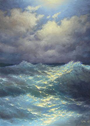 vladimir mesheryakov. So pretty, I've been wanting to paint a picture of waves with the sun shining:):
