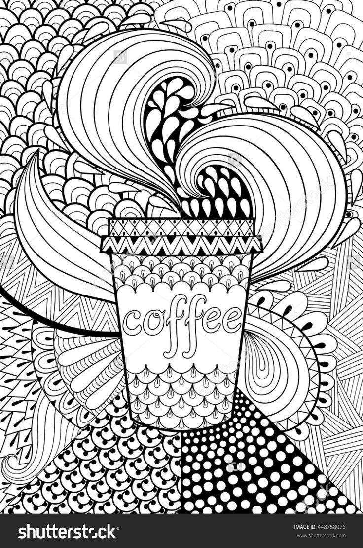 Advanced summer coloring pages - Coffee Cup Coloring Page Illustration Shutterstock 448758076