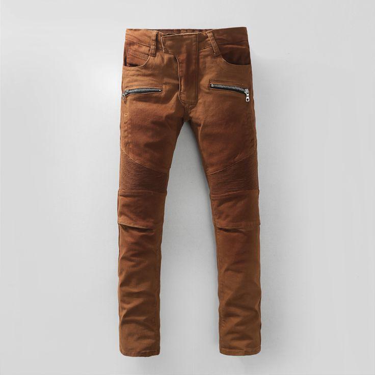 2016 New Men Nightclubs brown Jeans,Famous Brand Fashion Designer Denim Jeans Men,plus-size 28-40, casual jean