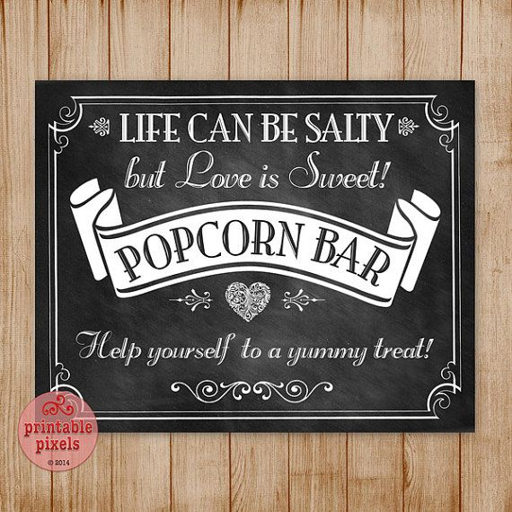 Chalkboard Popcorn Bar Sign Retro Victorian By