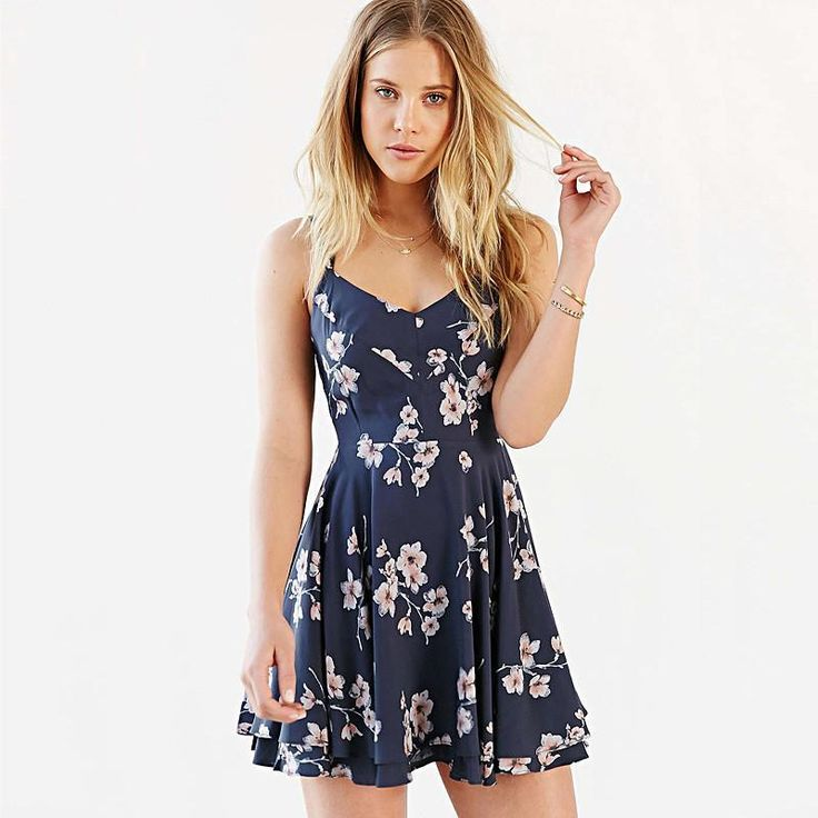 Sleeveless V-Neck Backless Straps Floral Mini Dress