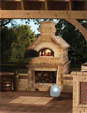 Brick Pizza oven off of the porch