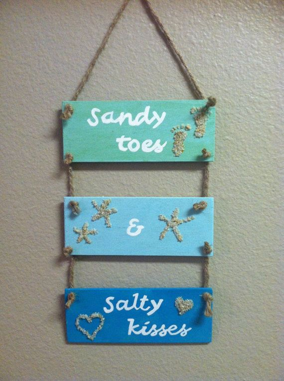 Sandy toes and Salty kisses wooden beach sign Wood beach wall hanging Beach wall art Beach decor by DebDebsCrafts