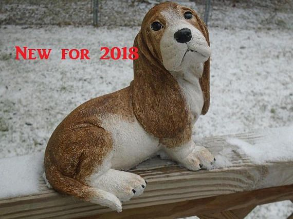 CONCRETE BASSET HOUND STATUE OR USE AS A MEMORIAL,,,GRAVE MARKER