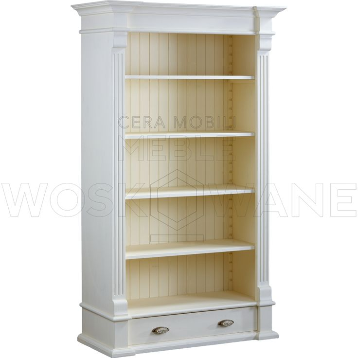 Witryna drewniana - klasyka piękna w białym kolorze. Idealnie komponuję się na tle surowych betonowych ścian.