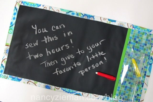 Use chalkboard fabric (it really works like chalkboard) and a quilted cotton for a terrific portable activity.