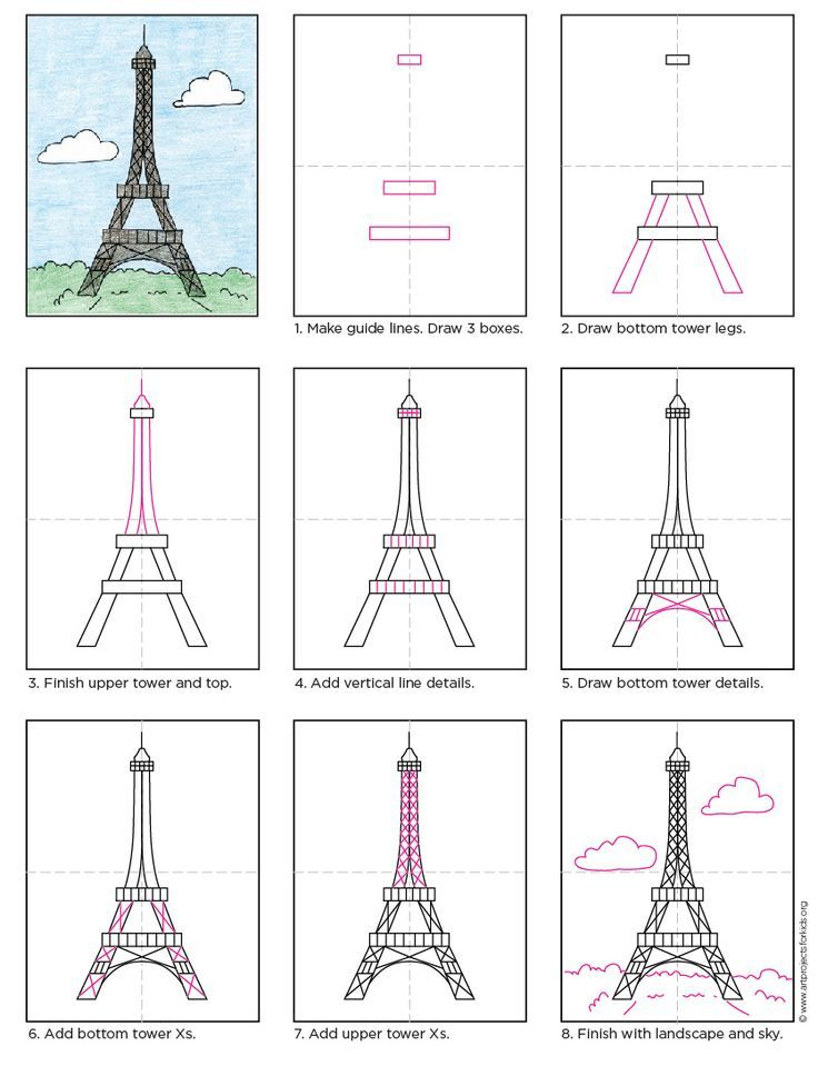 Draw the Eiffel Tower. Free PDF tutorial. #howtodraw #directdraw #eiffeltower by Art Projects for Kids
