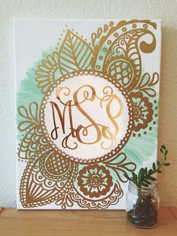 Custom Monogram Canvas  Gold & Spearmint by CaliCanvas on Etsy