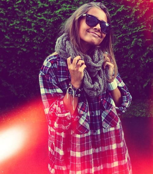 big flannel and a scarf...it makes me excited for fall ♥