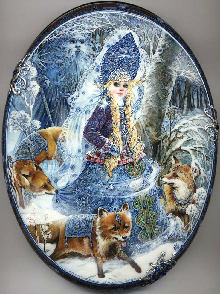 "Fedoskino. Russian Lacquer Art Titled ""snowmaiden"" Artist Natalya Orlova"