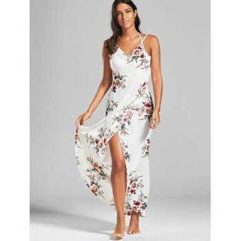 Chiffon Floral Convertible Sarong Wrap Cover Up Dress - WHITE S