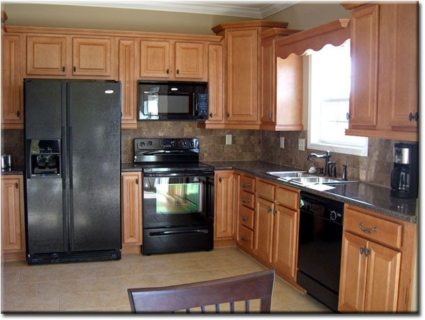 Oak Cabinets W Granite Counters And Stone Tile Backsplash Neutral Tile Floor Diy Home Decor