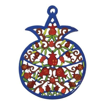 Yair Emanuel Hand Painted Pomegranate - Pomegranate Branches