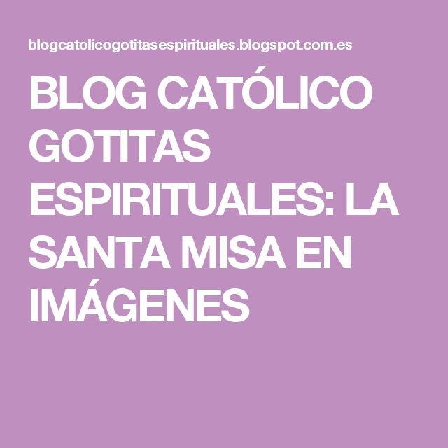BLOG CATÓLICO GOTITAS ESPIRITUALES: LA SANTA MISA EN IMÁGENES