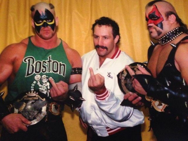 "Paul Ellering ; The Road Warriors have the NWA International tag team titles in their grasp and have just one thing to say to anyone in All Japan who doesn't like it! Did you know that the middle finger is sign language for ""OOOOOHHHHH, WHAT A RUSH""?"