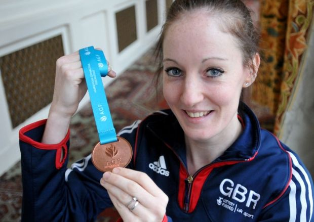Kat Driscoll with her World Cup bronze medal from Azerbaijan. Picture by Frank Reid