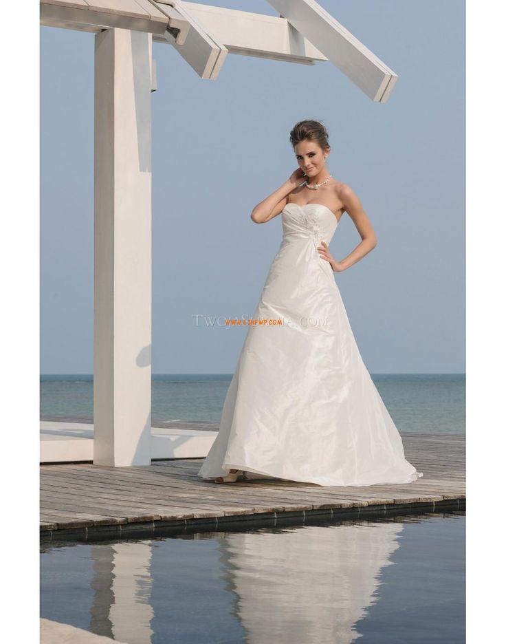 Vlečka na zem Okouzlijící & dramatický Bez rukávů Svatební šaty 2014