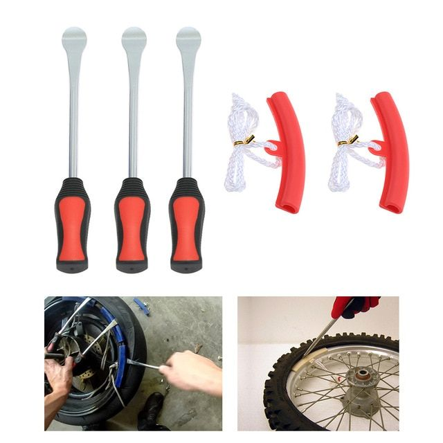3 Tire Lever Tool Spoon 2 Wheel Rim Protectors Tool Kit For
