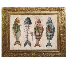 cadre trompe l'oeil poissons